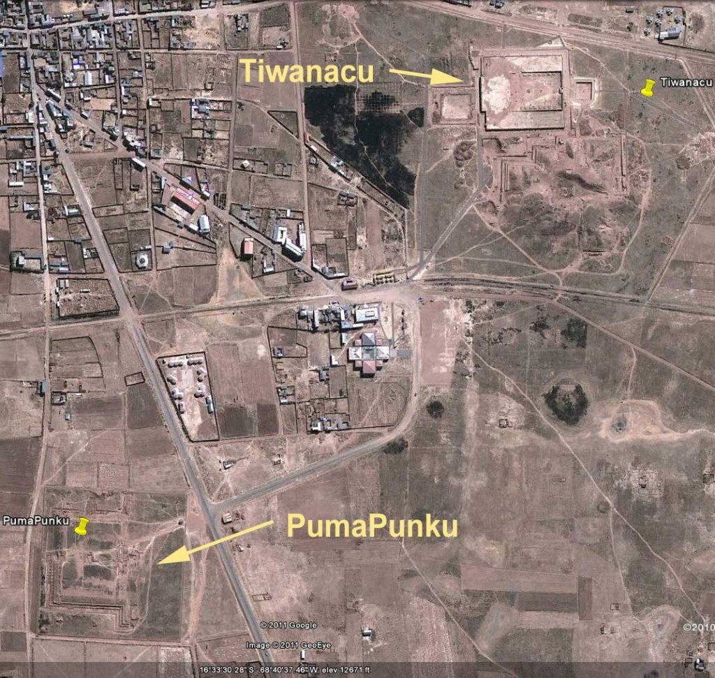 Aerial view of archaeological sites at Tiwanaku and Puma Punku