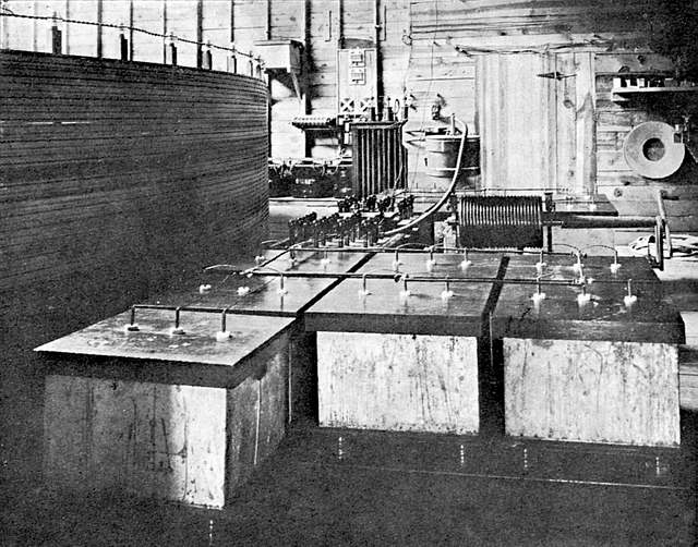 Incredible inventions of nikola tesla world mysteries blog along one wall of the lab power cables meters switches and the twelve storage batteries were located besides the secondary coil of the magnifying sciox Choice Image