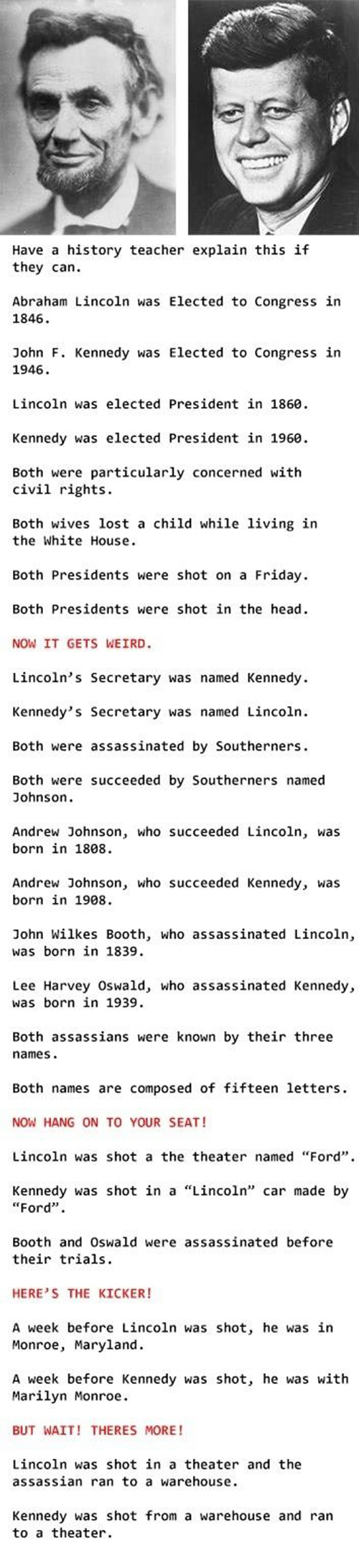 A comparison between the assassinations of john f kennedy and abraham lincoln